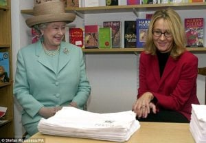 Royal appointment: JK Rowling met the Queen in March 2001 in London, nine months